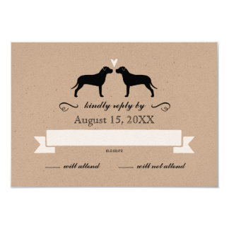 Pit Bull Silhouettes Wedding RSVP Reply Card