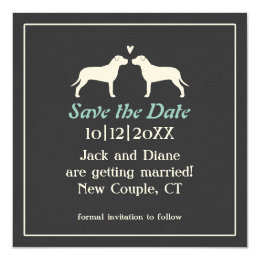 Pit Bull Silhouettes Wedding Save the Date Card