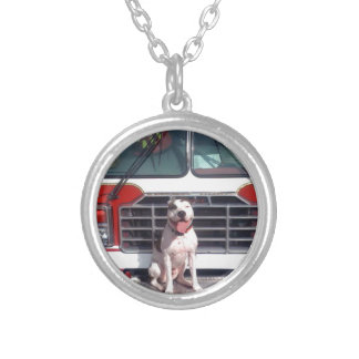 Pit Bull T-Bone Fire House Dog Round Pendant Necklace