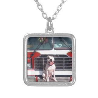 Pit Bull T-Bone Fire House Dog Square Pendant Necklace