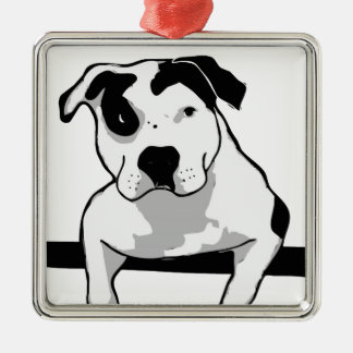 Pit Bull T-Bone Graphic Metal Ornament