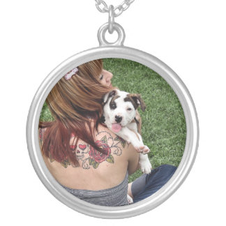 Pit Bull T-Bone Lucky Puppy Silver Plated Necklace
