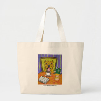 Pit Bull Terrier at the Cafe Canvas Bags