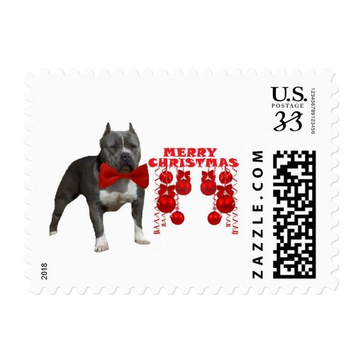 Pit Bull Terrier Christmas Stamps