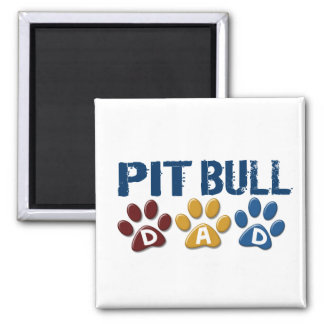 PIT BULL TERRIER Dad Paw Print 1 2 Inch Square Magnet