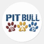PIT BULL TERRIER Dad Paw Print 1 Round Sticker