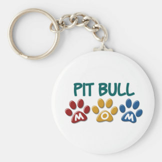 PIT BULL TERRIER Mom Paw Print 1 Basic Round Button Keychain