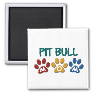 PIT BULL TERRIER Mom Paw Print 1 2 Inch Square Magnet
