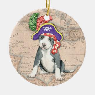 Pit Bull Terrier Pirate Ceramic Ornament