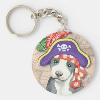 Pit Bull Terrier Pirate Keychain