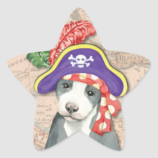 Pit Bull Terrier Pirate Star Sticker