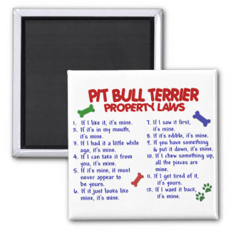 PIT BULL TERRIER Property Laws 2 2 Inch Square Magnet
