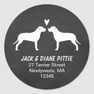 Pit Bull Terrier Silhouettes Return Address Classic Round Sticker