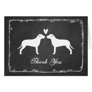 Pit Bull Terriers Wedding Thank You Stationery Note Card