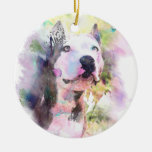 Pit Bull Water Color Ceramic Ornament