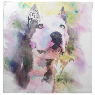 Pit Bull Water Color Cloth Napkin