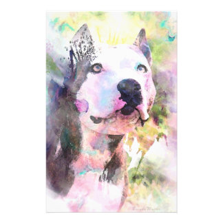 Pit Bull Water Color Stationery