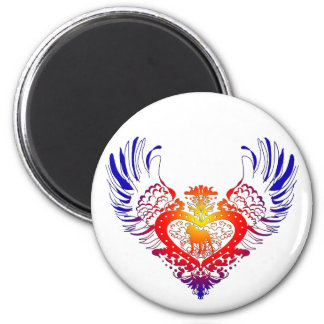 Pit Bull Winged Heart 2 Inch Round Magnet