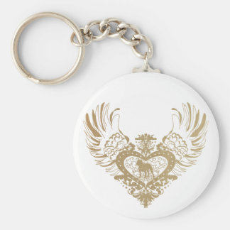 Pit Bull Winged Heart Basic Round Button Keychain