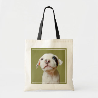 Pit Bull With Black Spotted Eye Tote Bag