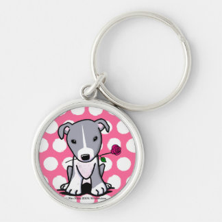 Pit Bull With Flower Keychains