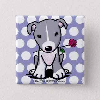 Pit Bull With Flower Pinback Button