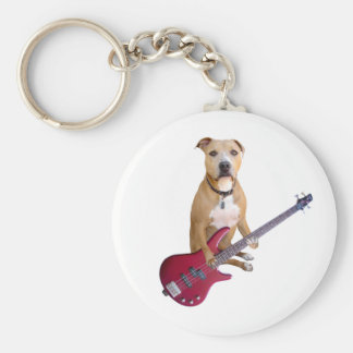 Pit Bull with Guitar Keychain