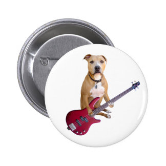 Pit Bull with Guitar Pinback Button