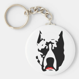 Pit Bull with Lipstick Basic Round Button Keychain