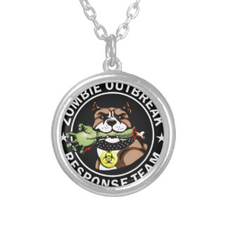 Pit Bull Zombie Outbreak Response Team Logo Silver Plated Necklace