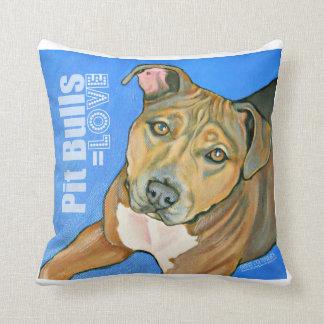 Pit Bulls equal Love Throw Pillows