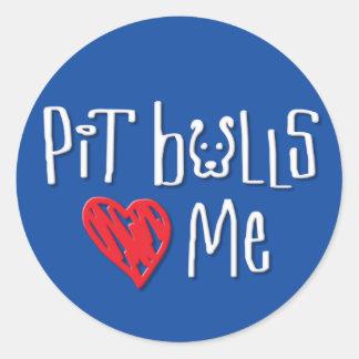 Pit Bulls Love Me Round Stickers