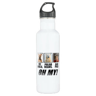 Pit bulls, Polar Beas, and pigs Faded.png 24oz Water Bottle