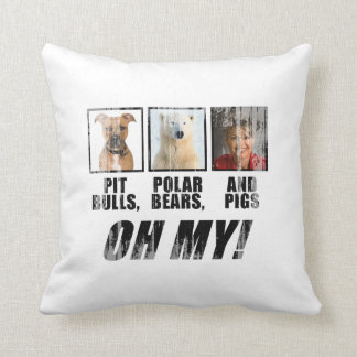 Pit bulls, Polar Beas, and pigs Faded.png Throw Pillow