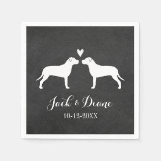 Pit Bulls Wedding Couple with Custom Text Napkin