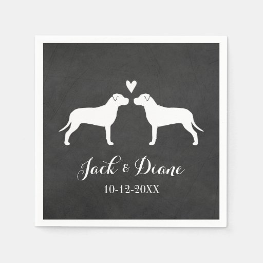 Pit Bulls Wedding Couple with Custom Text Paper Napkin