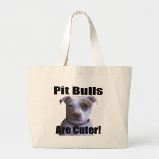pit buls are cuter canvas bag