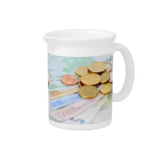 Pit Cher with euro motive for currency Drink Pitcher
