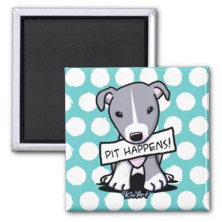 Pit Happens Pit Bull Dog 2 Inch Square Magnet
