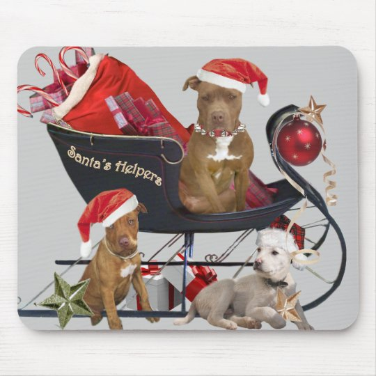 Pitbill Terrier Santa's Helpers Mouse Pad