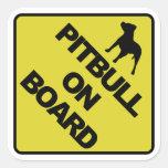 Pitbull a bordo colcomanias cuadradas personalizadas