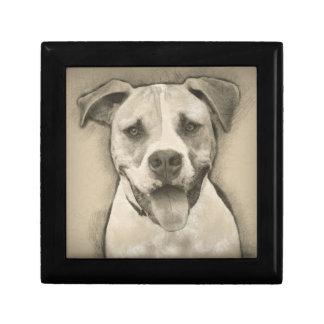 Pitbull - American Bulldog Pencil Sketch portrait Keepsake Box