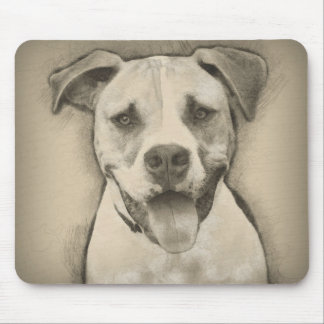 Pitbull - American Bulldog Pencil Sketch portrait Mouse Pad