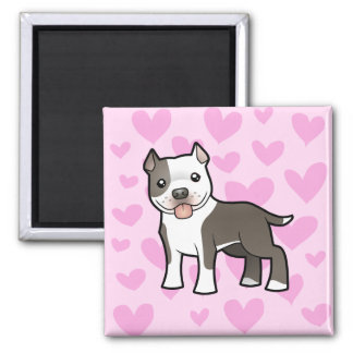 Pitbull / American Staffordshire Terrier Love 2 Inch Square Magnet