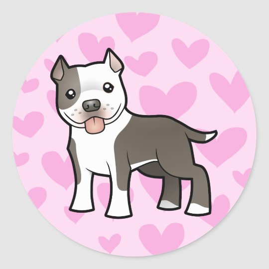 Pitbull / American Staffordshire Terrier Love Classic Round Sticker