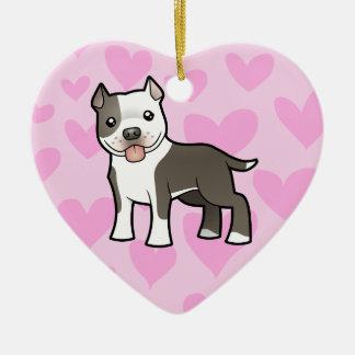 Pitbull American Staffordshire Terrier Love Christmas Tree Ornaments