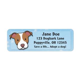 Pitbull americano Terrier de Kawaii Etiqueta De Remite