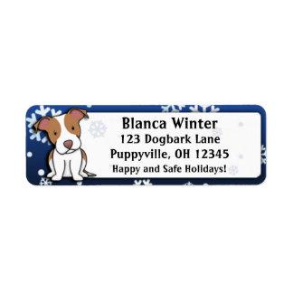 Pitbull americano Terrier del dibujo animado del i Etiqueta De Remite