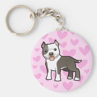Pitbull/amor de Staffordshire Terrier americano Llavero Redondo Tipo Pin