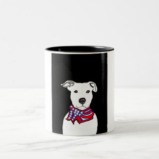 Pitbull and American flag coffee mug